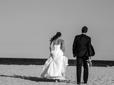 Black and white beach wedding portraits at Litochoro